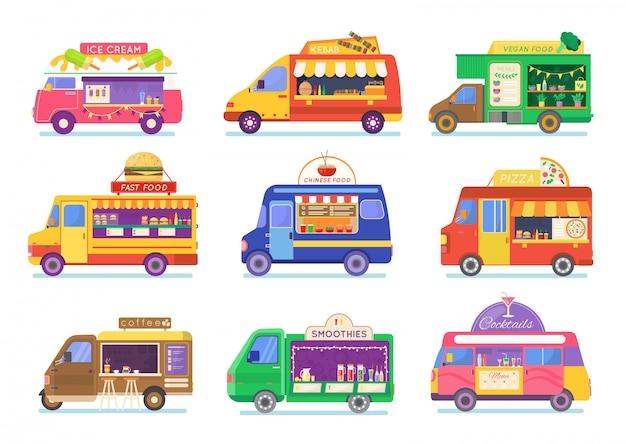 Ilustración de conjunto de camión de comida callejera, furgoneta de dibujos animados vendiendo comida callejera china o pizza kebab en el mercado, iconos de café aislados en blanco