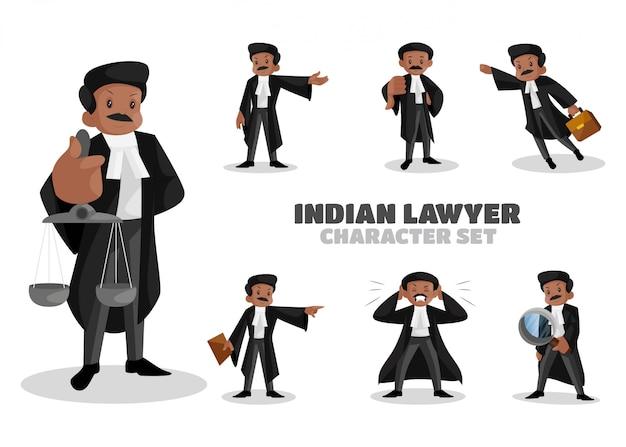 Ilustración del conjunto de caracteres de abogado indio