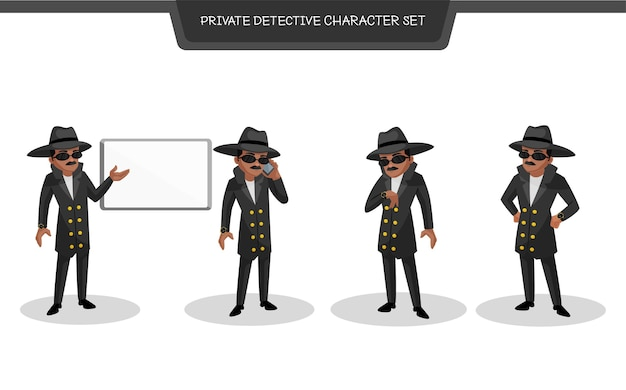 Ilustración del conjunto de caracteres de detective privado