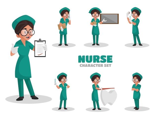 Ilustración del conjunto de caracteres de enfermera