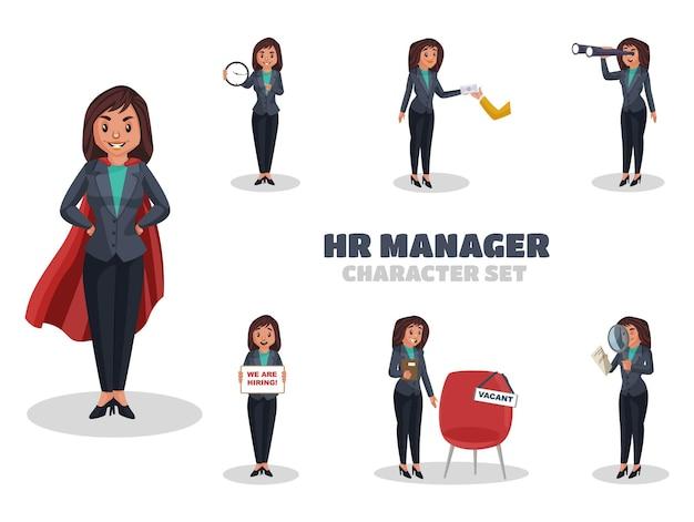 Ilustración del conjunto de caracteres del gerente de recursos humanos
