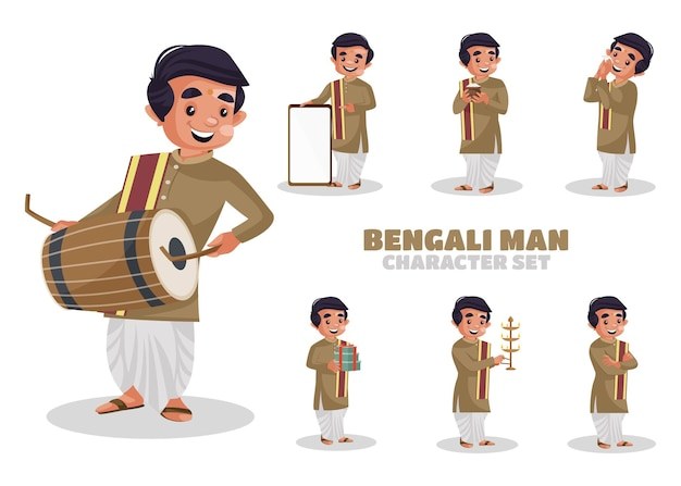 Ilustración del conjunto de caracteres del hombre bengalí