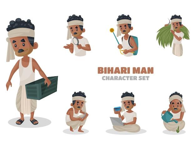 Ilustración del conjunto de caracteres del hombre de bihari
