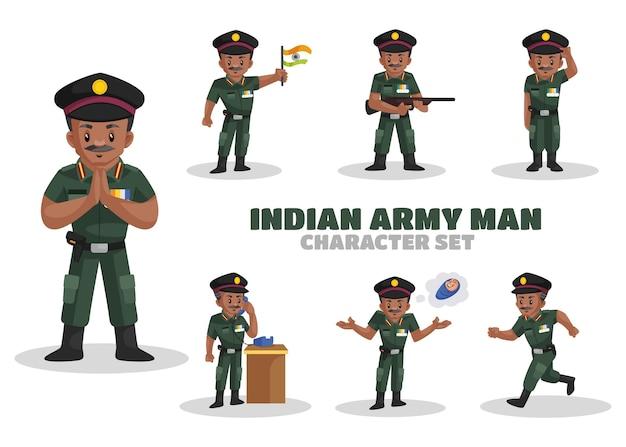 Ilustración del conjunto de caracteres del hombre del ejército indio