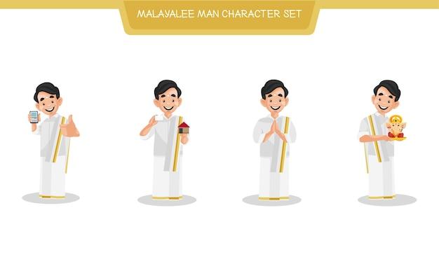 Ilustración del conjunto de caracteres del hombre malayalee indio