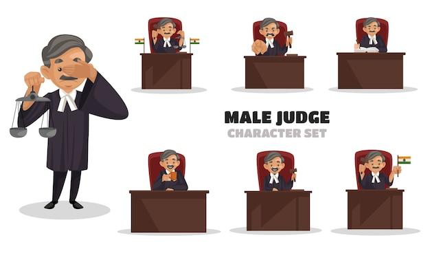 Ilustración del conjunto de caracteres de juez masculino