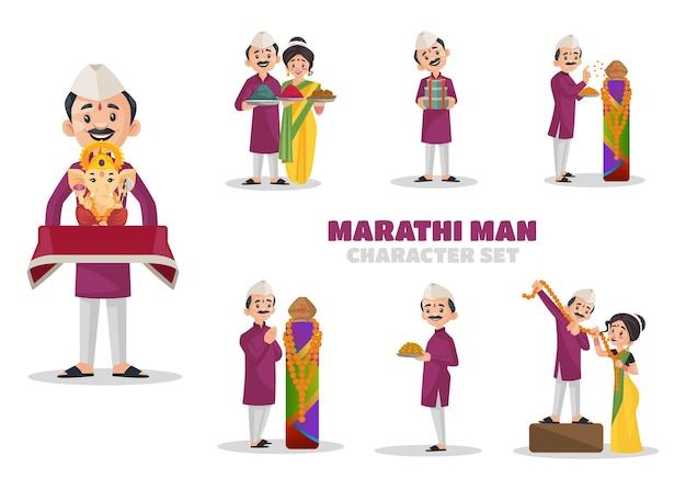Ilustración del conjunto de caracteres marathi man