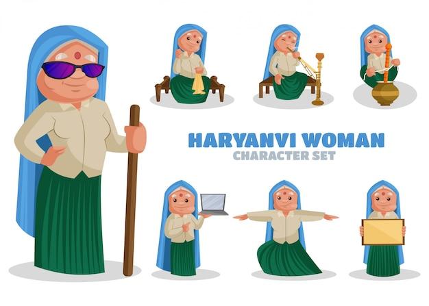 Ilustración del conjunto de caracteres de la mujer de haryanvi