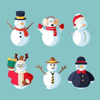 Ilustración de conjunto de caracteres de muñeco de nieve de diseño plano