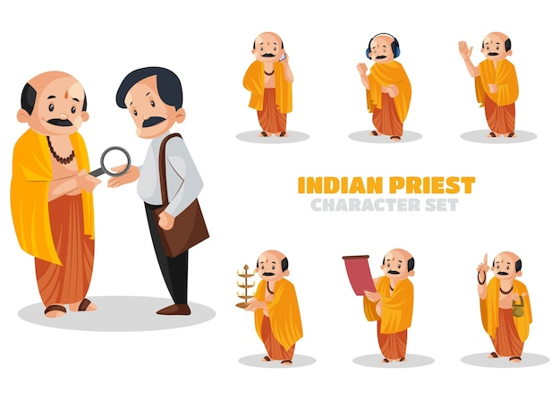 Ilustración del conjunto de caracteres del sacerdote indio