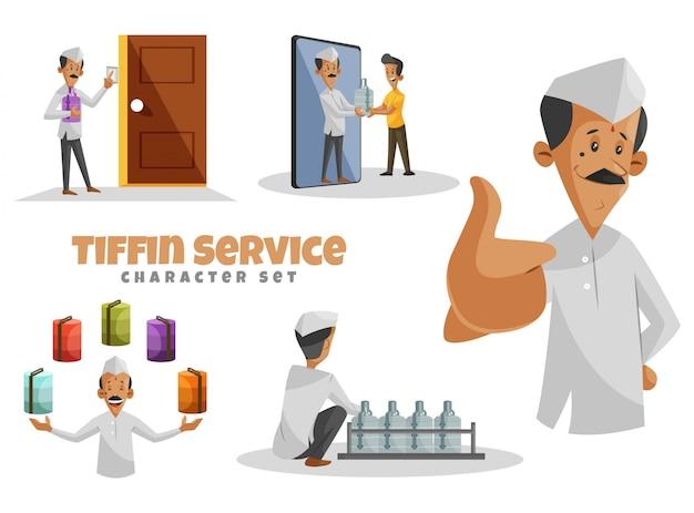 Ilustración del conjunto de caracteres del servicio tiffin