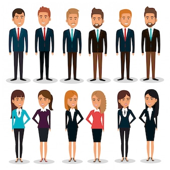 Ilustración de conjunto de caracteres de trabajo en equipo de empresarios