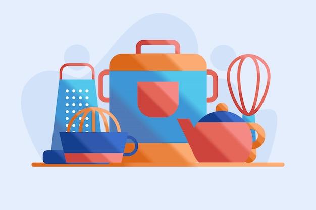 Ilustración de conjunto de cocina y cocina de arroz