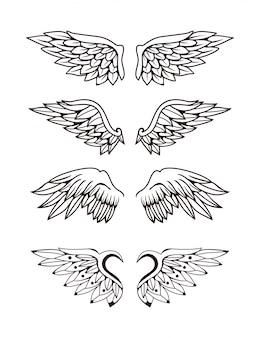 Ilustración del conjunto de colección de alas