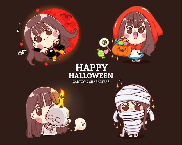 Ilustración de conjunto de colección de personajes de dibujos animados lindo de halloween