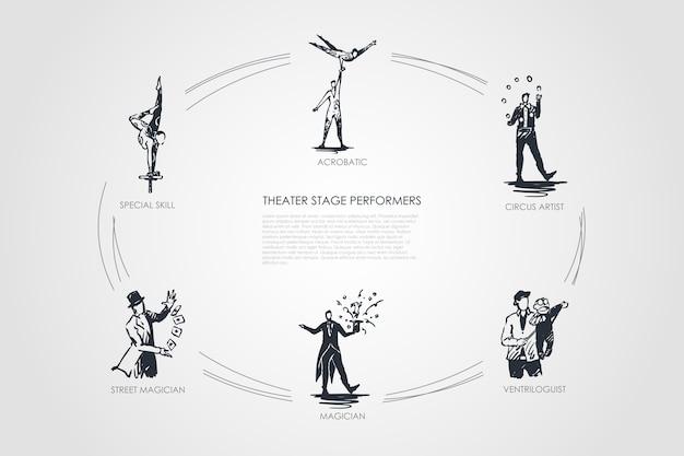 Ilustración de conjunto de concepto de actuación de teatro