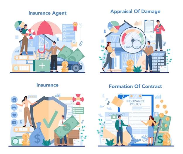 Ilustración de conjunto de concepto de agente de seguros