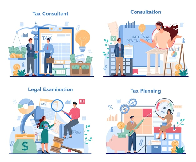 Ilustración de conjunto de concepto de asesor fiscal