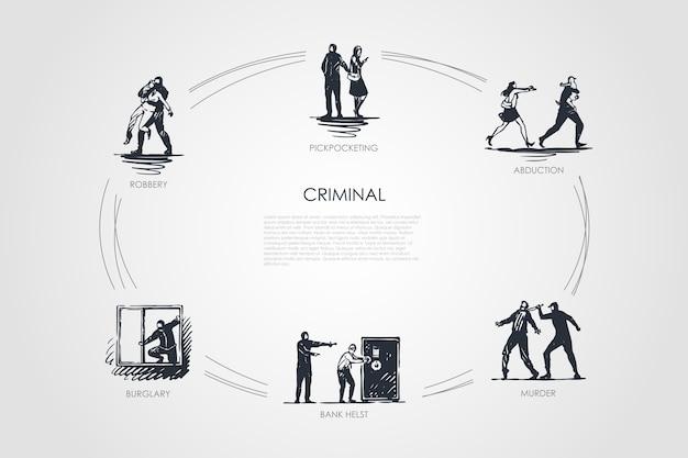 Ilustración de conjunto de concepto criminal