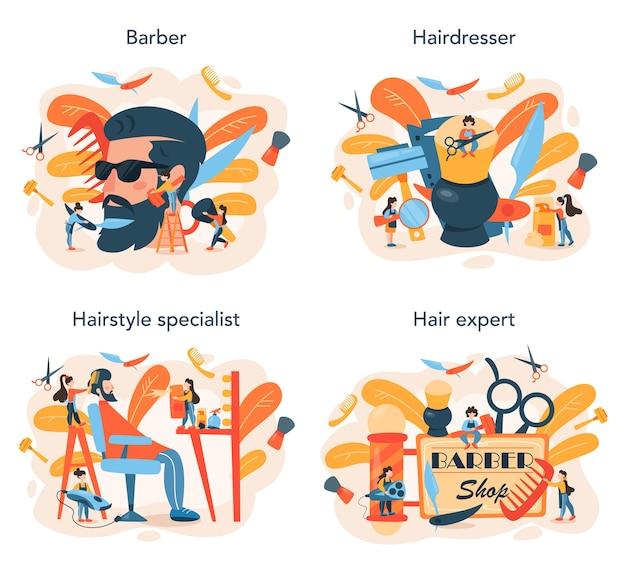 Ilustración de conjunto de concepto de peluquero