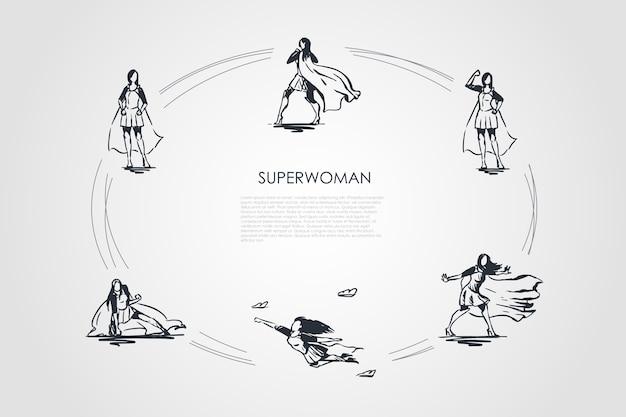 Ilustración de conjunto de concepto de superwoman