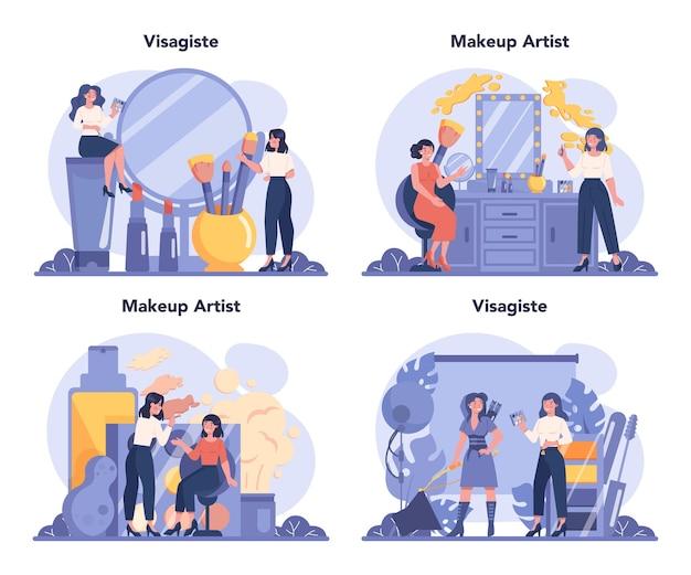Ilustración de conjunto de concepto de visagiste en estilo de dibujos animados