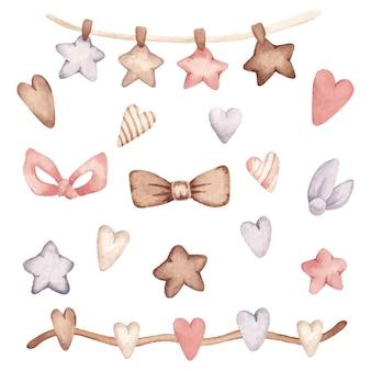 Ilustración de conjunto de corazón y estrella de bebé vintage acuarela