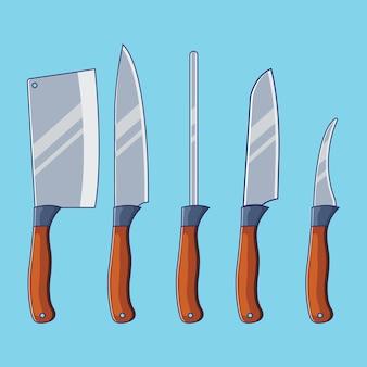 Ilustración de conjunto de cuchillo de cocina