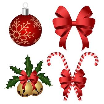 Ilustración de conjunto de decoración de navidad aislado en blanco