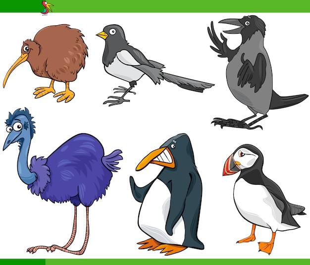 Ilustración de conjunto de dibujos animados de aves