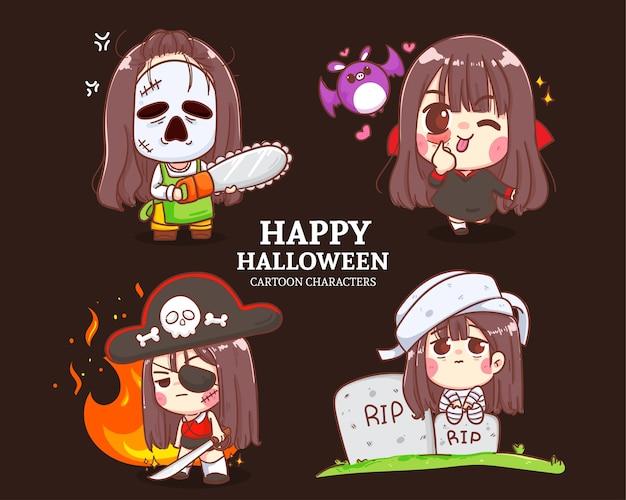 Ilustración de conjunto de dibujos animados de colección de personajes lindos de halloween.