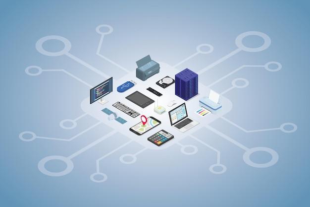 Ilustración de conjunto de dispositivos electrónicos