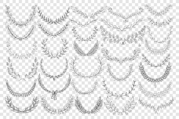 Ilustración de conjunto de doodle de ornamento de hojas naturales