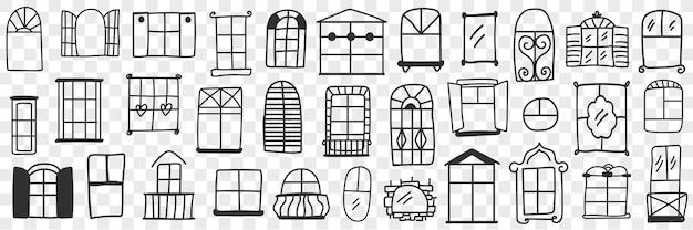 Ilustración de conjunto de doodle de ventanas y marcos