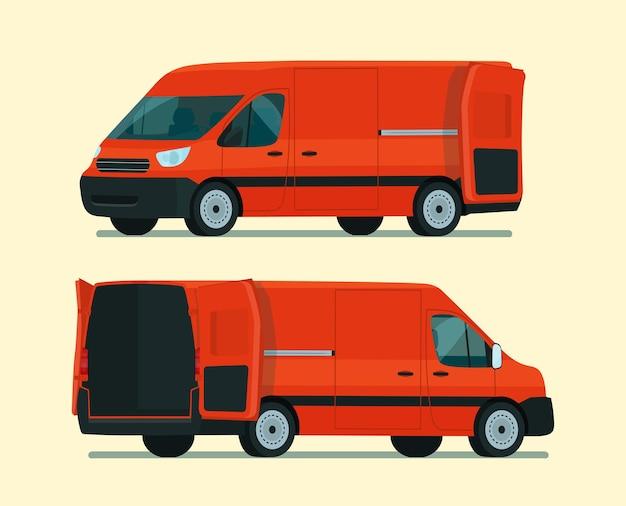 Ilustración de conjunto de dos ángulos de furgoneta de carga