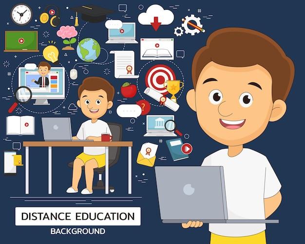 Ilustración y conjunto de elementos de educación a distancia
