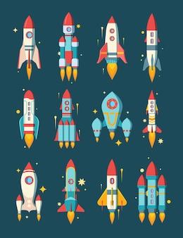 Ilustración de conjunto espacial de cohetes