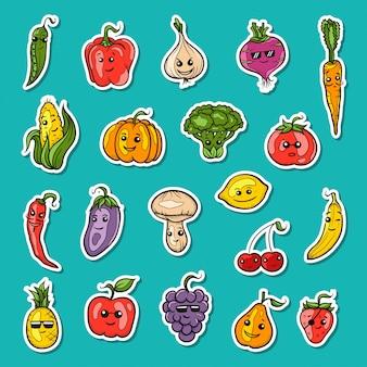 Ilustración de conjunto de frutas y verduras