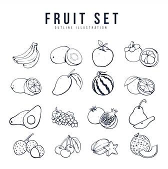 Ilustración de conjunto de frutas