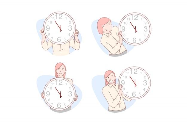 Ilustración de conjunto de gestión de tiempo