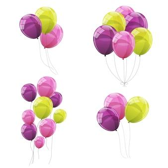 Ilustración de conjunto de globos de color brillante