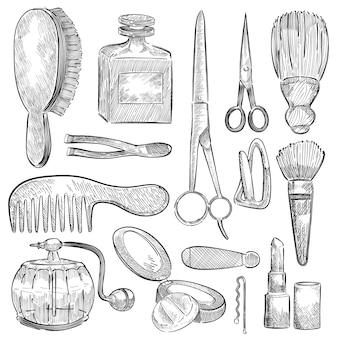 Ilustración de un conjunto de herramientas de belleza