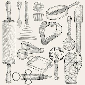 Ilustración de un conjunto de herramientas de cocina