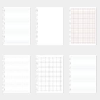 Ilustración de conjunto de hojas de papel en el fondo