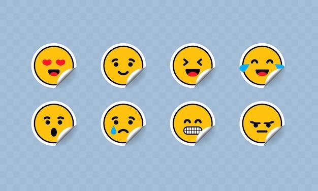 Ilustración de conjunto de icono de etiqueta engomada de emoticon