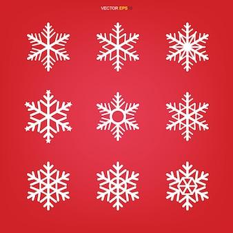 Ilustración de conjunto de iconos de copo de nieve