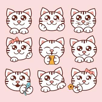 Ilustración conjunto de iconos de gatos lindos. pegatinas de dulces gatitos en estilo plano.