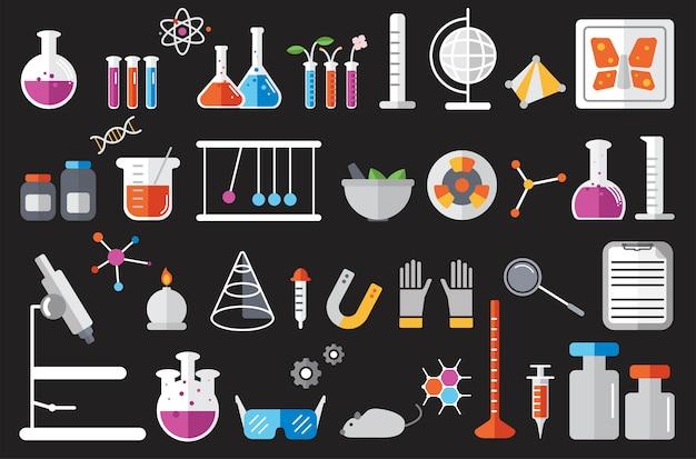 Ilustración de conjunto de instrumentos de laboratorio de química