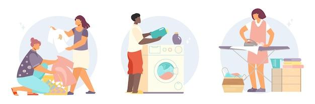 Ilustración de conjunto de lavandería y lavado de ropa