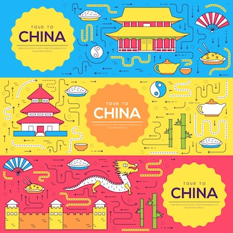 Ilustración de conjunto de línea fina de tarjetas de china